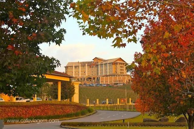 O Hotel Spa do Vinho visto da vinícola Miolo, outra bela paisagem do outono