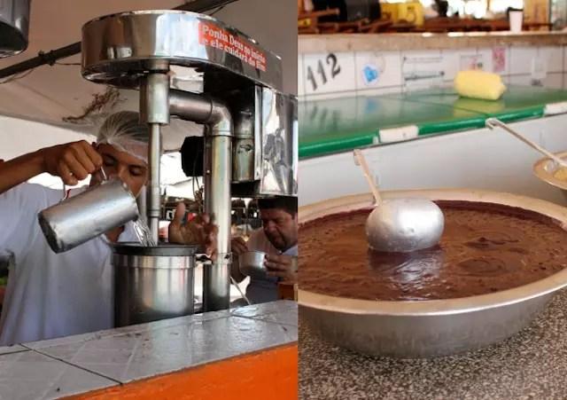 Na ponta do setor de comidas, o aça. A máquina extrai o melhor da fruta
