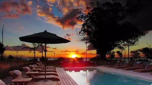 Visual no fim de tarde do Rio da Prata no hotel Costa Colonia que fica às margens do Rio
