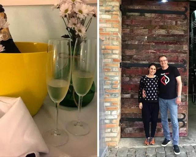 Entre uma degustação de vinhos na Milantino e uma espumante Courmayeur no quarto do hotel