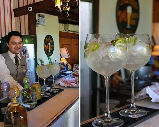 Além dos chá, alguns comensais pediam drinks que pareciam ótimos, como este gin tônica