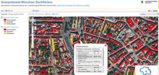 Geeignete Flächen für Solarthermie kennzeichnet eine neue Karte, die IP Syscon für die Stadt München erstellt hat