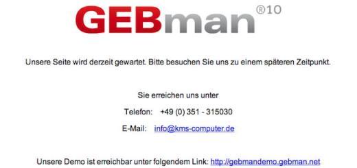 Die Webseiten von KMS Computer und von GEBman sind derzeit nicht erreichbar