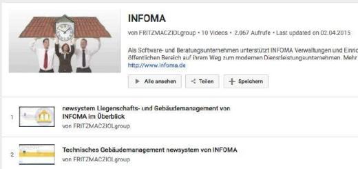 Infoma hat eine Reihe von Videos zu seinem CAFM-System bei YouTube eingestellt