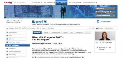 Los geht's: Der Call for Papers für den Best Paper Award der INservFM 2017 hat jetzt begonnen