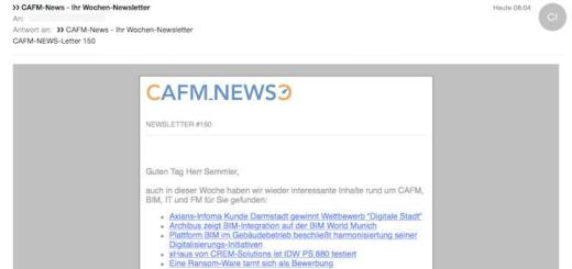 Vergangenen Sonntag haben die CAFM-News Ihren 150. Newsletter verschickt – und die Zahl der Abonnenten wächst stetig.