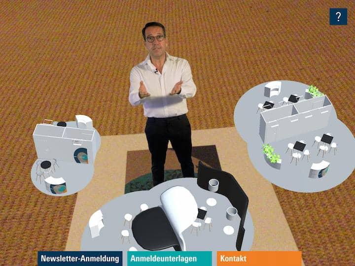 Kleine Stände, mittlere Stände, große individuelle Stände: Der Augmented-Reality-Herr mit Brille erläutert die Basics zur kommenden Servparc im Juni 2019