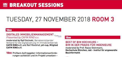 10 Themen rund um BIM und CAFM hat der CAFM Ring für die Breakout Sessions der kommenden BIM World Munich zusammen geführt
