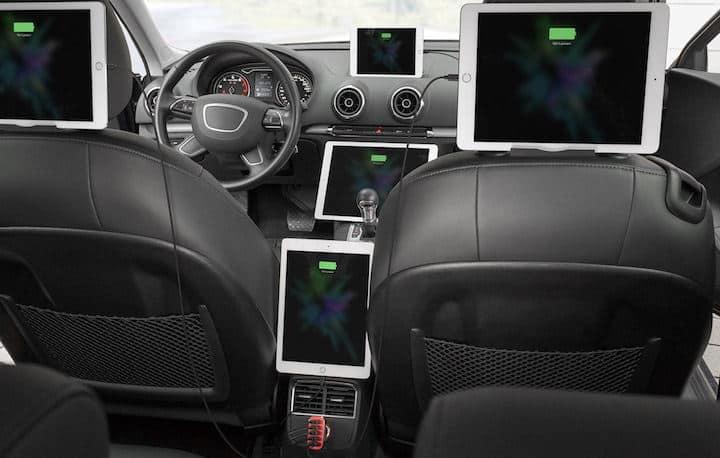 Mit den multiplen tizi Turboladern – hier das Modell 5x – lassen sich mehrere Tablets und Smartphones parallel mit Strom versorgen