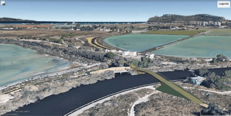 Visuale Google Earth del ponte ciclopedonale