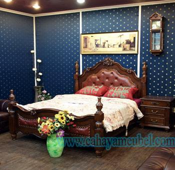 Set Tempat Tidur Mewah Kayu Jati