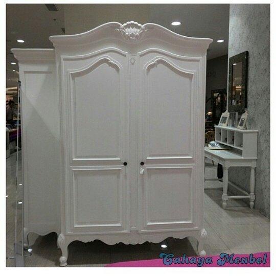 Lemari Pakain 2 Pintu Klasik Duco Putih