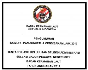Daftar Hasil kelulusan Seleksi Administrasi Bakamla
