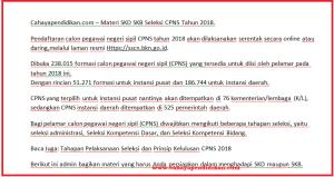 Materi SKD SKB Seleksi CPNS Tahun 2018