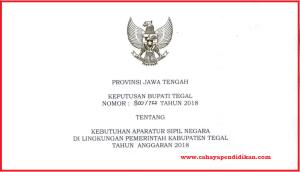 Formasi Seleksi Penerimaan CPNS Kabupaten Tegal Tahun 2018