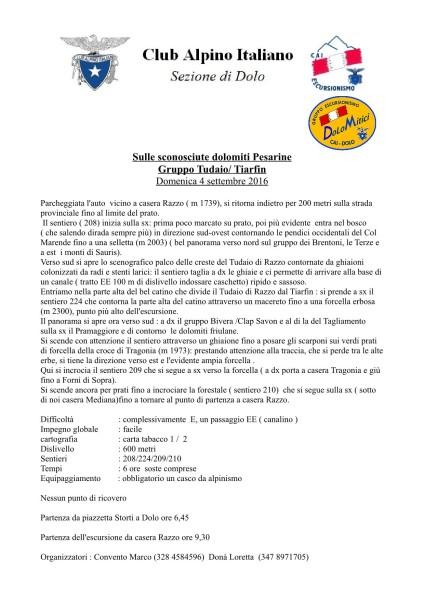 Gita sulle Dolomiti Pesarine Gr. Tudaio Tiarfin 4 settembre 2016