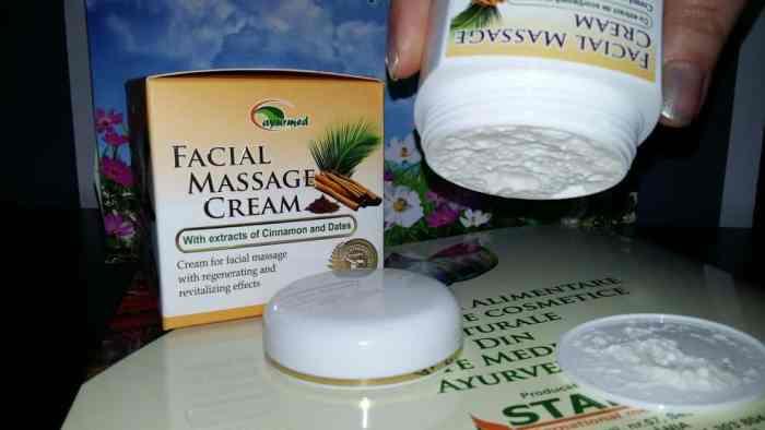 Crema pentru masaj facial cu extract de scorțișoară și curmale de la Ayurmed4