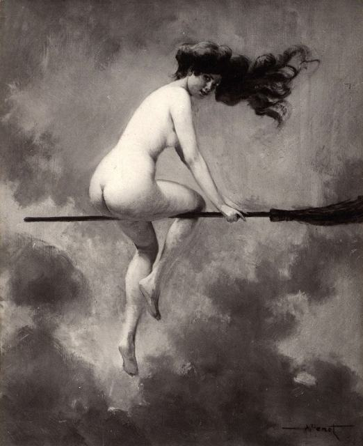 A witch riding naked on her broom