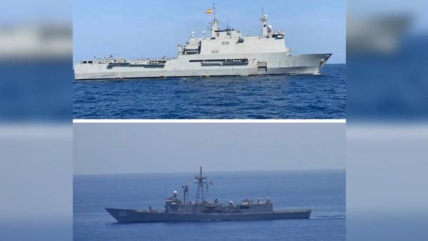 القوات البحرية المصرية والإسبانية تنفذان تدريبا بالبحر الأحمر