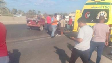 إصابة شخص في حادث إنقلاب أتوبيس رحلات على الطريق الدولي بكفر الشيخ