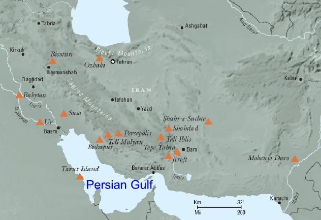 Agrandir.Aratta point central entre la vallée de l'Indus et la Mésopotamie