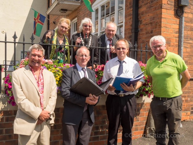 The East Midland's judges and part of the local Caistor In Bloom  L to R Back Row Deborah Barker, Mayor Carol McKensie and Neil Birks.  Front Row Ernie Brown, judges Peter Benham and Chris Beal with Mike Galligan