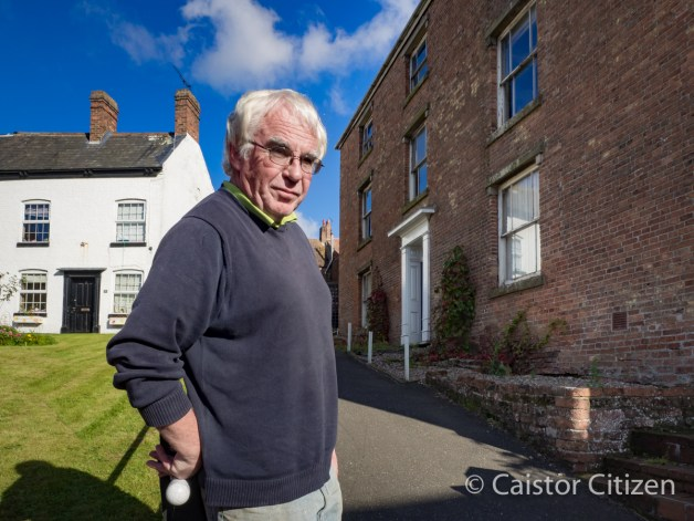 Mike Galligan of Caistor in Bloom with one of the houses that lost Caistor points. Westgate House sits in one of the most prominent positions overlooking the Town Square and is next a lovely row of cottages