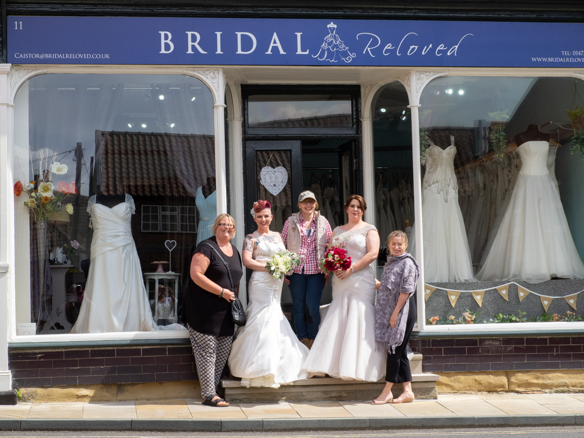 Communities working together, Dresses by Bridal Reloved of Caistor, Photos by Stewart Wall, MUA Skin Couture of Caistor, Hair by Nicki Chaplin, Flowers by Fig and Fern, Models Christina Clark and Laura Dora Howe.