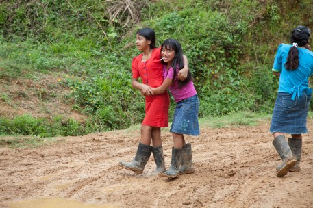 Young girls coming back from work on a coffee plantation in Honduras
