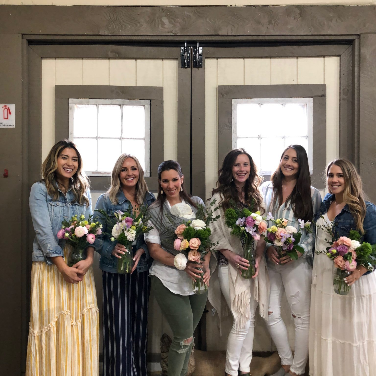 bloggers with homemade bouquets