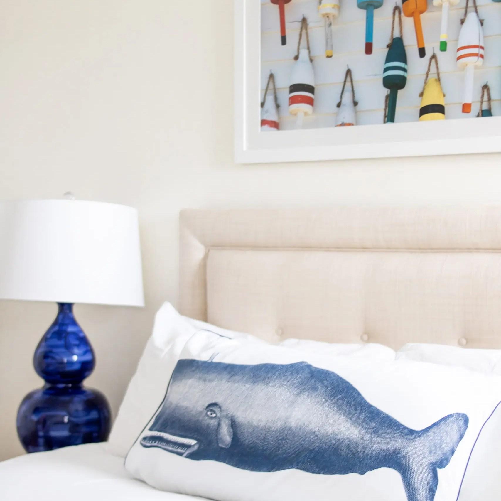 whale pillow coastal decor Nantucket Hotel suite