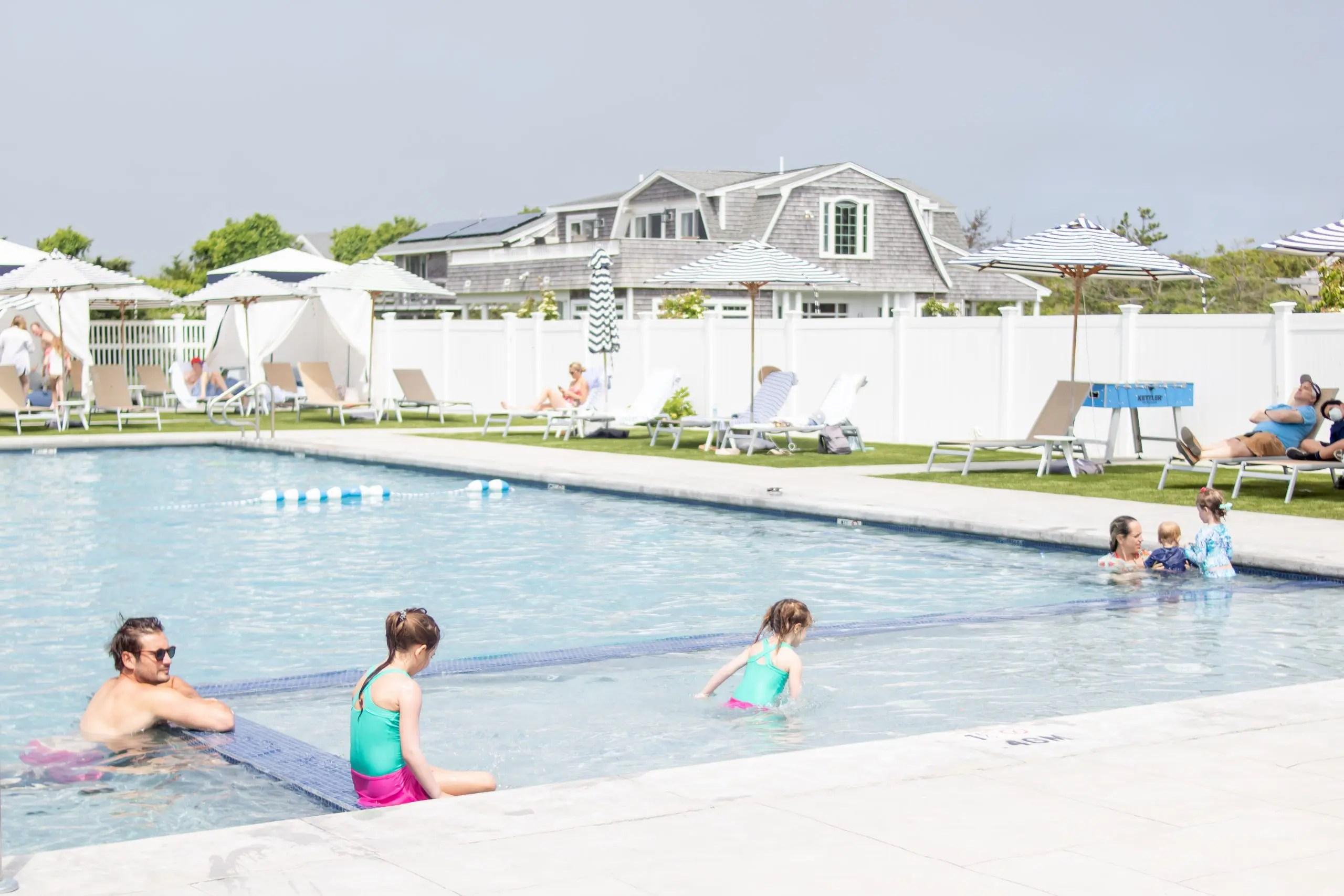 little girls in pool at winnetu