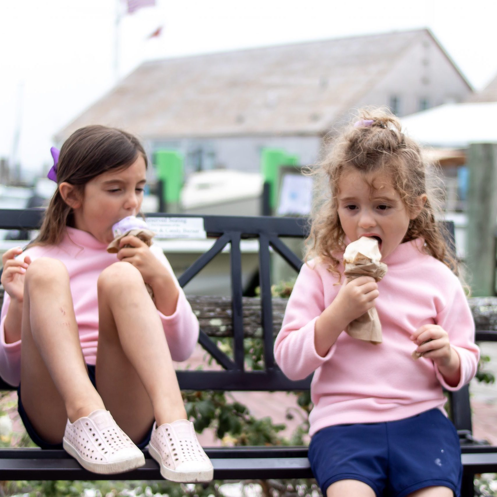 sisters eating ice cream