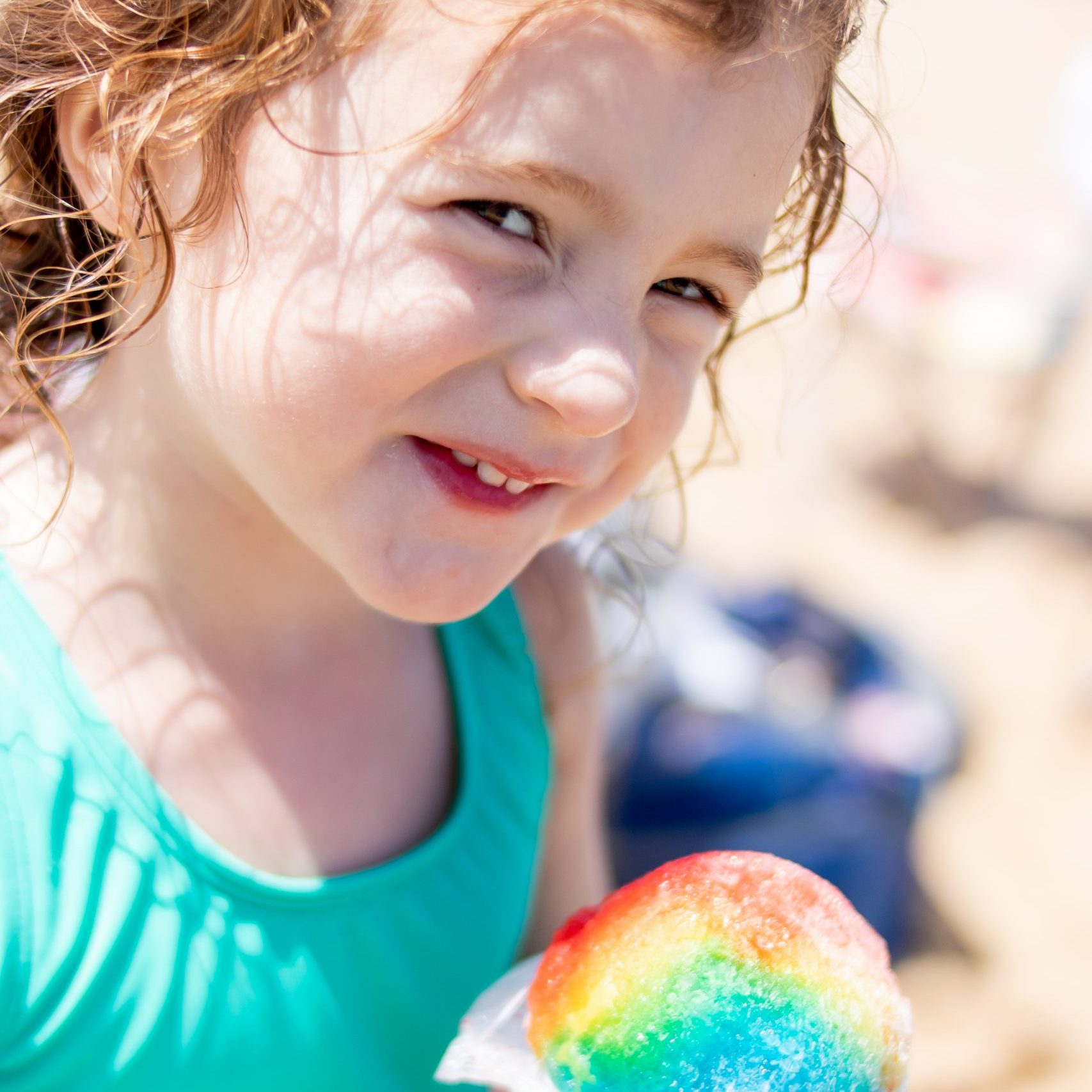 little girl with snow cone Cape Cod August 2020