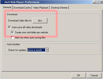 divx player configurar descargas