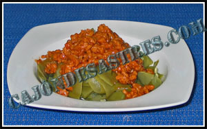 Receta de judias verdes con boloñesa