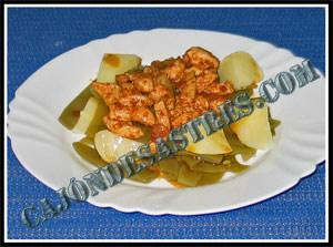 receta  de judias verdes con pechuga de pollo