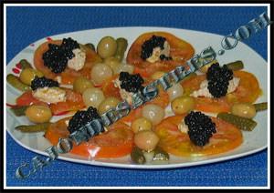 ensalada de tomate y pate de anchoa