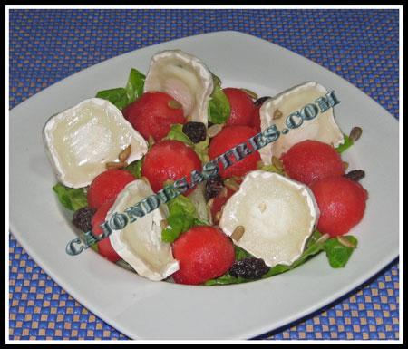 receta de ensalada de sandía con queso de cabra