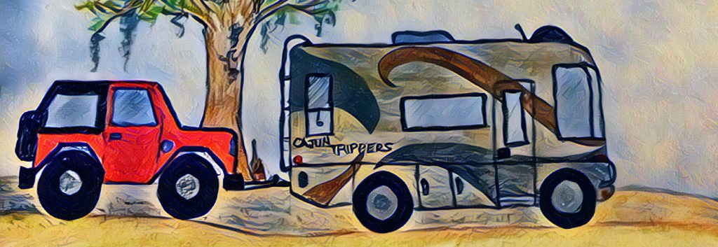 About us- Cajun Trippers - Hand drawn color image of the RV towing the Jeep