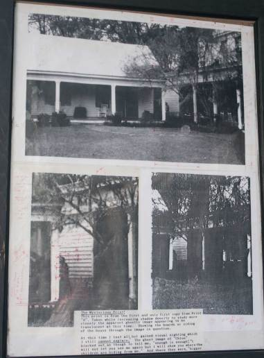 "This photo hangs on the back porch of the plantation. It documents the story of the Chloe's image and ""proof"" of her ghostly appearance."