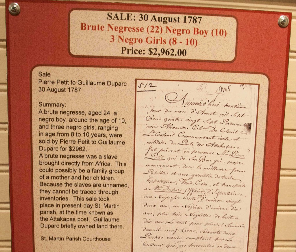 This is one example of the slave documentation that is displayed in the Slave Museum.