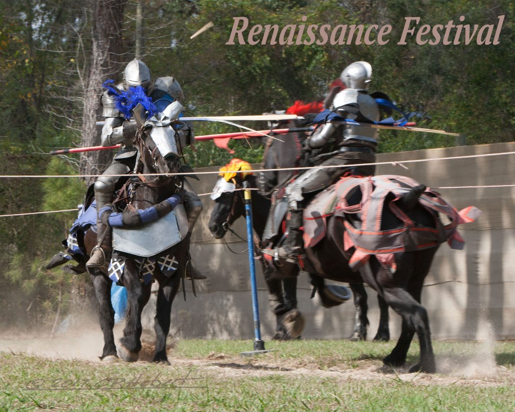 Knights at the Renaissance Festival charge at each other and the blue lance strikes steel, breaking the lance. In the next charge, both knights struck each other and the ground.