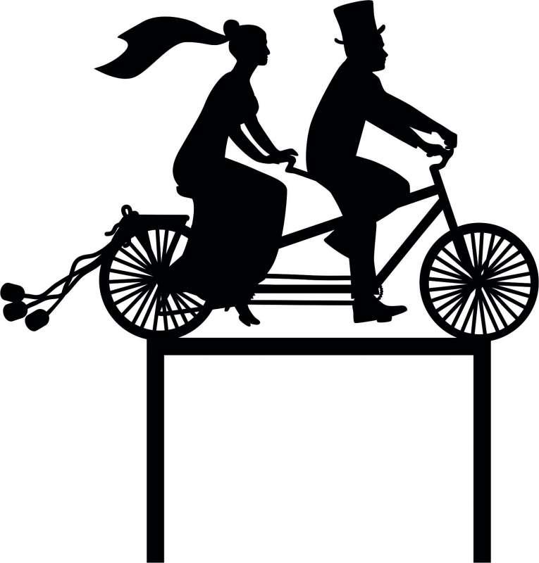CakeTopper Brautpaar auf Fahrrad SCHWARZ AcrylCT118B