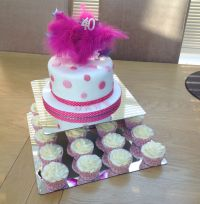 2 Tiered Mirror Design Acrylic Cake Stand