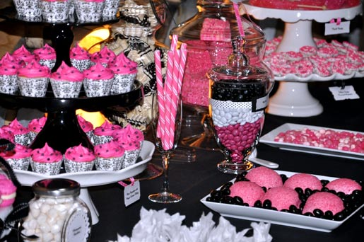 pink and black dessert table  Cake  Cupboard