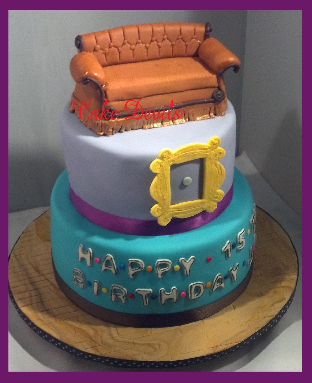 friends sofa replica ashley queen size sleeper couch cake topper kit fondant handmade edible