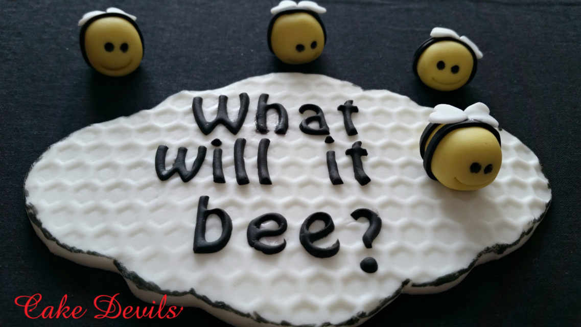 Gender Reveal Cake What will it Bee Baby Gender Reveal