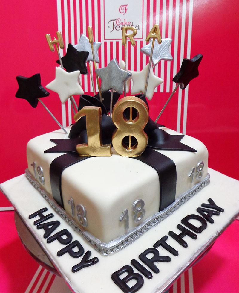 Black Ribbon Birthday Cake