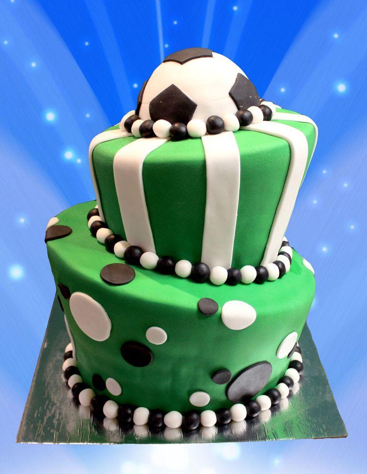 2 Tier Birthday Cake Football